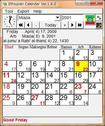 Ethiopian calendar screenshot.